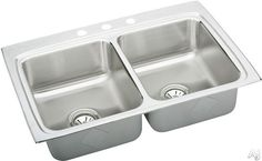 """View the Elkay LR3322 8 1/4"""" deep Gourmet Lustertone Stainless Steel 33"""" x 22"""" Double Basin Top Mount Kitchen Sink $637.45 @ at FaucetDirect.com."""