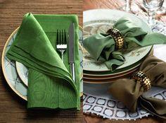 Post com idéias charmosas para deixar a decoração de mesa muito mais especial com detalhe e dobraduras diferentes nos guardanapos de tecido. #comodecorar #decor #decoração