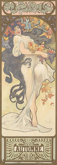 Artist: ALPHONSE MUCHA (1860-1939) Size: Each: 8 x 20 1/2 in./20.2 x 52 cm Imp F. Champenois, Paris (not shown) This is Mucha's second take on feminine representations of the four seasons, each mythic woman languid and alluring in her own way. This is the smaller format of the design, including the seldom-seen decorative upper border and lower panel indicating each season's name. (Art Nouveau, Flowers)