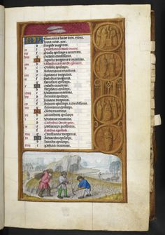 For February, the bas-de-page scene is an appropriately wintry and barren one. In the foreground, two ruddy-faced labourers prune back vines, while another carries off the trimmings for firewood in a bundle on his back (note how he is wearing medieval mittens against the cold!). A female figure is following in his footsteps in the background, and to the right a team of oxen draw a plough through a frosty field.