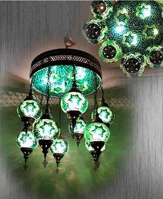 9 Large balls Arabian Mosaic Lamps ceiling by BeautyofTurkey