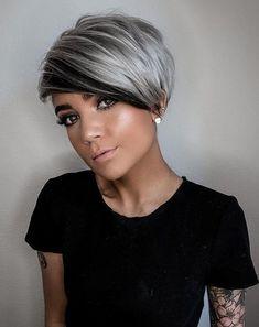 Short Grey Hair, Short Hair With Layers, Short Hair Cuts For Women, Angled Bob Hairstyles, Hairstyles Haircuts, Hot Hair Styles, Curly Hair Styles, Short Haircut Styles, Short Haircuts