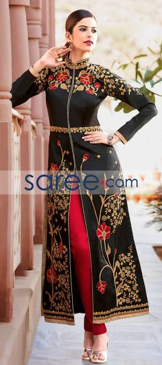 BLACK TAFFETA SILK INDO WESTERN SUIT #SalwarSuit #SalwarKameez #AnarkaliSuits #StraightCutSuits #CollegeWearSalwarSuits #buyonline #OnlineSalwarSuits #PartywearSalwarSuits #SalwarSuits #Indowestern