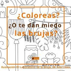 Ilustración para colorear gratis #ellaboratoriodelabruja de #analinea. ¿Te apuntas a colorearla? #adultcoloring #dibujosparacolorear #colouring