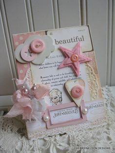 shabby baby card-VINTAGE BABY PAGE-beautiful little baby look who just arrived handmade card