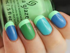 Neon Mint Funky French with China Glaze - Highlight Of My Summer