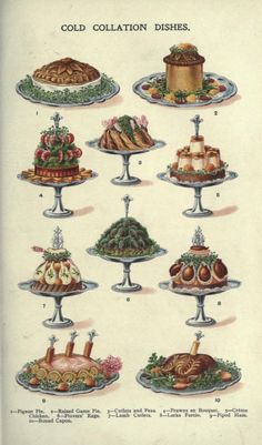 Vintage Illustration Free Vintage Public Domain Illustrations of Red Meat, Seafood, and Poultry Dishes Victorian Kitchen, Cookery Books, Vintage Cookbooks, Victorian Cookbooks, Retro Recipes, Victorian Christmas, Country Christmas, Food Illustrations, Vintage Colors