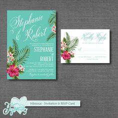 Hibiscus - Wedding Invitation & RSVP Card by Joytations on ETSY