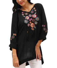 Love this Black Embroidered Ada Tunic - Women by Caite on #zulily! #zulilyfinds