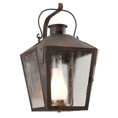 Nantucket Natural Rust One-Light Fluorescent Large Wall Sconce w/ Frosted Chimney and Clear Seeded Glass892