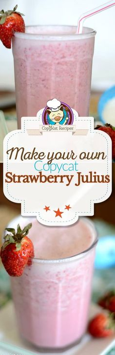 No need to go to the mall to get a Strawberry Julius when you can make one at home with this easy copycat recipe. Learn how to make a Strawberry Julius with fresh strawberries. A great homemade smoothie to enjoy for breakfast or a snack. #strawberry #strawberries #orangejulius #smoothierecipes #copycat #copycatrecipes #drinkrecipes #beverages #breakfastideas #snackideas Smoothie Shop, Juice Smoothie, Smoothie Drinks, Fruit Smoothies, Healthy Smoothies, Smoothie Recipes, Drink Recipes, Healthy Drinks, Cocktail Recipes