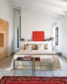 suddenly drawn to this color palette - cream/tan/putty color with red accents