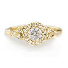 Rome Crown Diamond Engagement Ring Yellow by SillyShinyDiamonds