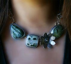 Spirit of the Jungle - Seraphinite, Ocean Jasper, and Prehnite Sterling Silver Necklace