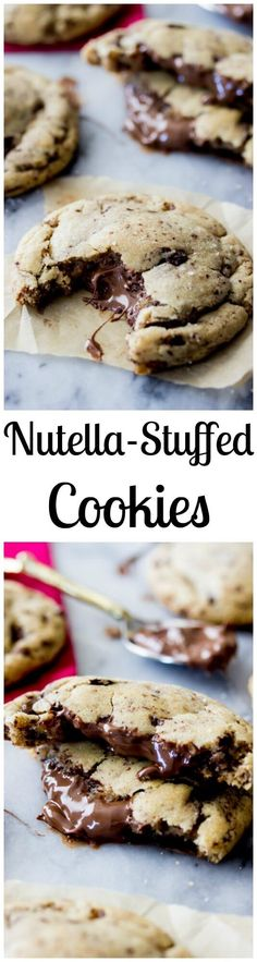 Nutella Stuffed Cookies - made with brown butter and sprinkled with sea salt!    Sugar Spun Run via @sugarspunrun