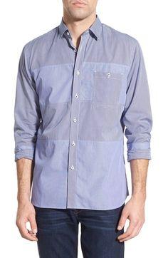 Maker & Company 'Patchwork' Regular Fit Mixed Stripe Sport Shirt - Regular L