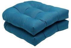 Pillow Perfect Sunbrella® Spectrum 2-Piece Outdoor Wicker Seat Cushion Set - Blue