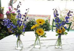 Blue Yellow Centerpiece Garden Summer Wedding Flowers Photos & Pictures - WeddingWire.com