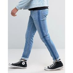 ASOS Skinny Jeans With Tux Stripe In Washed Blue ($29) ❤ liked on Polyvore featuring men's fashion, men's clothing, men's jeans, blue, mens blue skinny jeans, asos mens jeans, mens super skinny jeans, mens striped jeans and mens skinny jeans