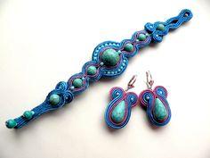 Ketten mittellang - Turquoise Marine - soutache - ein Designerstück von Bajobongo bei DaWanda