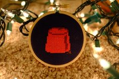 Dr Who Fez Cross Stitch  Completed by CrossReferences on Etsy