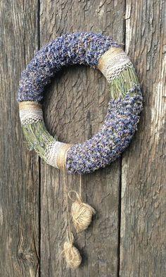 Wedding Wreath - Summer Wreath - Home Decor Wreath - Lavender Wreath Lavender Decor, Lavender Crafts, Lavender Wreath, Lavander, Easter Wreaths, Holiday Wreaths, Diy Wreath, Door Wreaths, Rama Seca