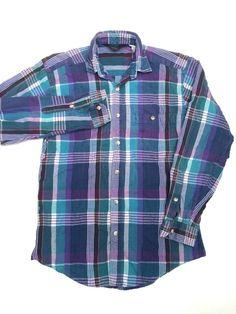 Woolrich Sheep Tag Purple Green Blue Plaid LS Button Down Polo Shirt Men Small S #Woolrich #ButtonFront