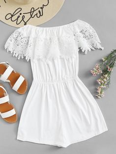 Shop Off Shoulder Guipure Lace Panel Jumpsuit online. SHEIN offers Off Shoulder Guipure Lace Panel Jumpsuit & more to fit your fashionable needs. Girls Fashion Clothes, Summer Fashion Outfits, Cute Summer Outfits, Cute Casual Outfits, Casual Dresses, Girl Fashion, Girl Outfits, Womens Fashion, Style Clothes
