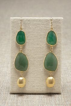Green Onyx and Aventurine Earrings   meredithjackson.com  Green darling green