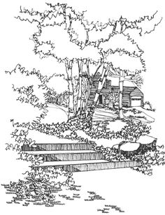 spring landscape coloring pages  colouring