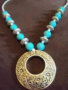 Turquoise Pendant Necklace...check me out on Etsy at wwoodburn