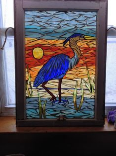 Blue Heron At Sunset - from Delphi Artist Gallery by NiagaraGlassMosaics