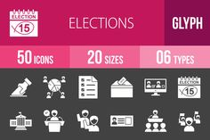 50 Elections Glyph Inverted Icons by IconBunny on @creativework247