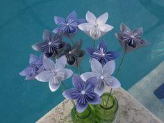 Purple Silver & White Origami/Kusudama Flower by kreationsbykia, $22.00