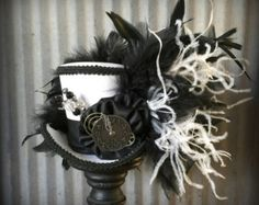 Mini Top Hat, Black and White Rabbit, Alice in Wonderland Mini Top Hat, Tea Party Hat, Steampunk Hat, Gear Hat, Mad Hatter Hat, Kentucky