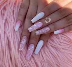 Acrylic Nails Coffin Pink, Summer Acrylic Nails, Coffin Nails, Pink Summer Nails, Pink Acrylics, Spring Nails, Glow Nails, Acylic Nails, Cute Acrylic Nail Designs