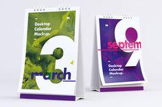 Desktop Portrait Calendars Mockup Front and Back View - Original Mockups