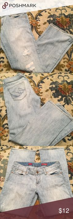 Express jeans Light blue denim jeans ripped design on front of jeans boot cut style Express Jeans Boot Cut