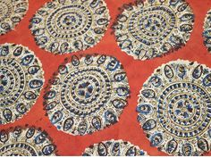 Print Kalamkari Cotton Fabric, Indian Cotton Fabric by the yard, Vegetable Dyed Kalamkari Fabric in Maroon, Blue and Beige