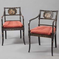 Pair of Regency Painted Armchairs, 19th Century - The rectangular backrest with a scene of children in 18th century costume, above a cane seat, raised on circular tapering ring turned legs