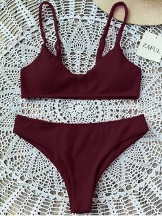 Product High Cut Bralette Bikini Set available for Zaful WW, get it now ! Push Up Bikini, Bikini Set, Bralette Bikini, The Bikini, Padded Bralette, Strappy Bralette, Bikini Girls, Swimwear Model, Summer Bikinis