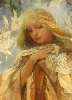 Alphonse Mucha - Madonna of the Lilies, 1905 ~ detail