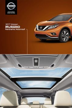 Welcome to the most social car we've ever designed.   Murano's sweeping, moonroof reaches over both rows of seats, so even passengers in the back get a clear view of the sky and experience an open, natural atmosphere rarely found in the back seat of a crossover.