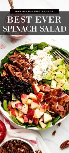 This Spinach Salad is the BEST and so perfect for fall! It's full of apples, bacon, dried cranberries, pecans, feta, avocado, and homemade poppy seed dressing. Everyone is sure to go back for a second helping! #avocadosaladrecipes #fallsalad#spinach| GarnishandGlaze.com Bacon Spinach Salad, Spinach Salad Recipes, Healthy Salad Recipes, Savory Salads, Easy Appetizer Recipes, Lunch Recipes, Diet Recipes, Appetizers, Salad Nutrition Facts