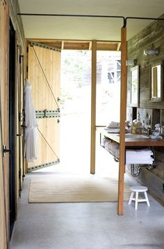 love a bathroom with a door to the outside