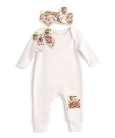 4f8d7f8ab27 Another great find on Ivory   Olive Floral Patch Playsuit   Headband -  Infant
