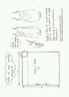 Saída de praia envelope - Learn Tutorial and Ideas Sewing Dress, Dress Sewing Patterns, Diy Dress, Sewing Clothes, Clothing Patterns, Diy Clothes, No Sew Dress, Skirt Patterns, Fashion Sewing