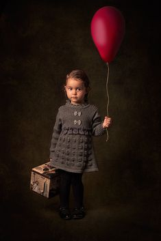 Girl And Balloon (by Bill Gekas) [red balloon] [gray dress]
