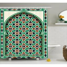Bloomsbury Market Askham Moroccan Arch with Floral Shower Curtain + Hooks Size: W x Tree Shower Curtains, Floral Shower Curtains, Shower Curtain Sizes, Moroccan Bathroom, Moroccan Decor, Neutral Bathroom Colors, Green Bathroom Accessories, Shower Liner, Long Rug