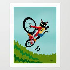 SOLD! Thank you!❤️Art Print by BATKEI #society6 #cat #猫 #cats #feline #イラスト #illustration #art #print